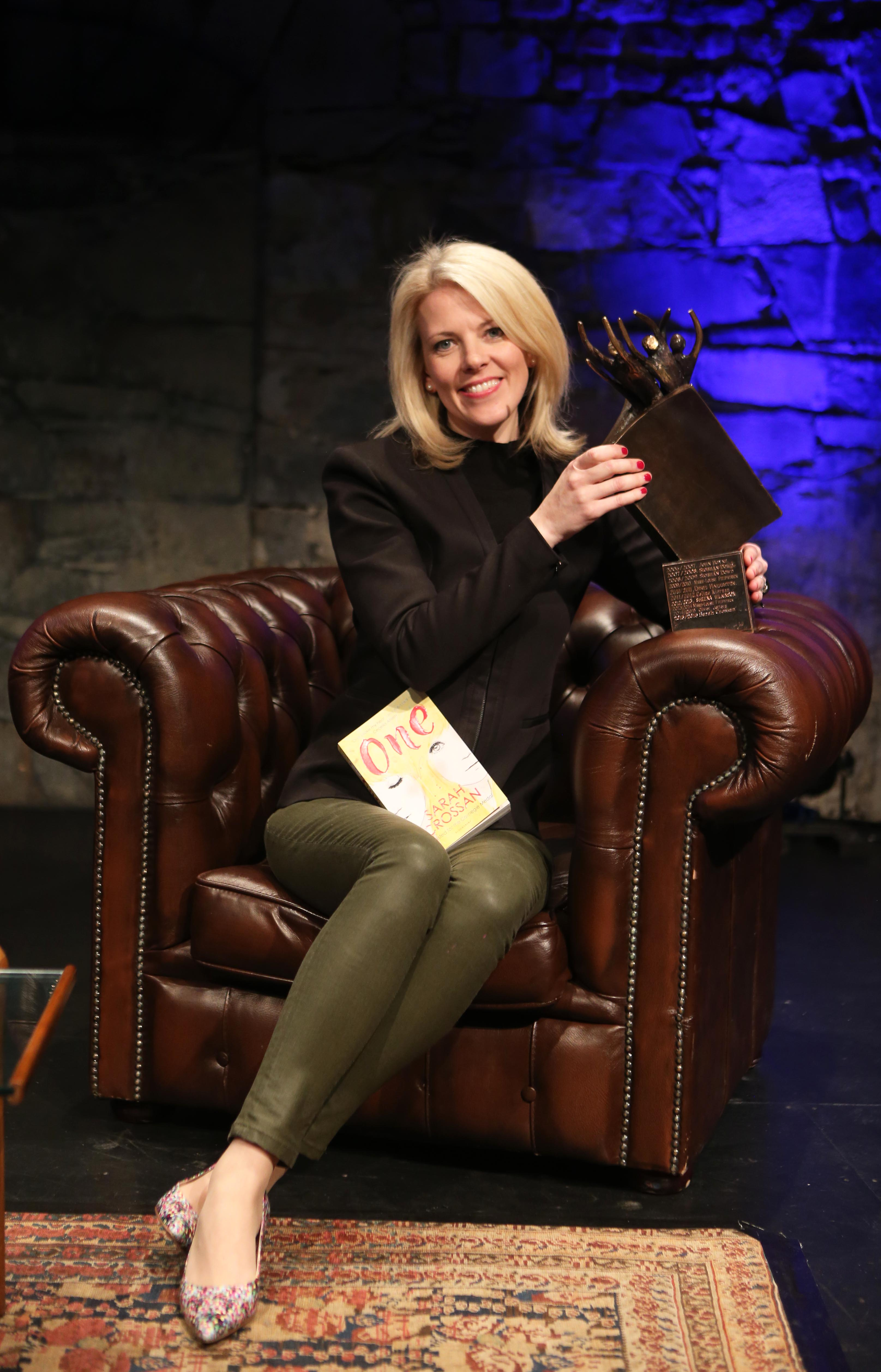 Author Sarah Crossan , pictured after she won the 26th CBI ( Children's Book Ireland) Book of the Year Award and the Childrens Choice award for her title One.The awards ceremony took place in Smock Alley Theatre in Dublin. Photo: Leon Farrell/Photocall Ireland.